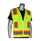 Class 2 Solid/Mesh Vest, Zipper, 8 Pockets, Mic Tab, Two Tone Tape, LY