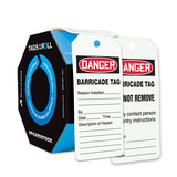 """DANGER BARRICADE TAG REASON INSTALLED …"" Tags By-The-Roll, 6 1/4x3, PF-Cardstock 100/Roll"