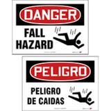 """DANGER FALL HAZARD"" Sign, Double-sided English Spanish, 10X14, PF-Cardstock, 10/pk"