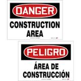 """DANGER CONSTRUCTION AREA"" Sign, Double-sided English Spanish, 10X14, PF-Cardstock, 10/pk"